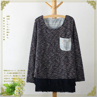 Long-Sleeve Ruffle Layer Knitted Sweater