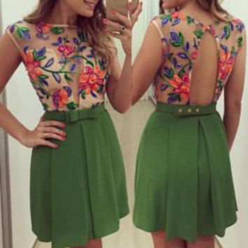 Floral Pattern Mini Dress