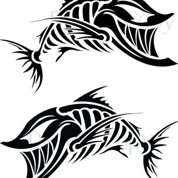 (2) TWO - Skeleton Fish 002 Vinyl Graphic Decals