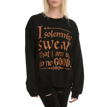 FancyQube Spring Tracksuit I Solemnly Swear that I am Up To No Good Words Print Sweatshirt Women Harajuku Black Hoodies