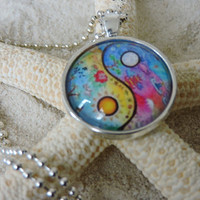 "Silver Plated Round 1"" Glass Bezel Setting Ying Yang Sunflower Boho Hippy Necklace"