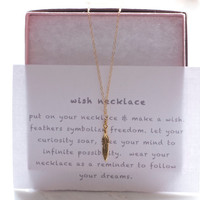 Feather Wish Necklace, Gold Feather Necklace
