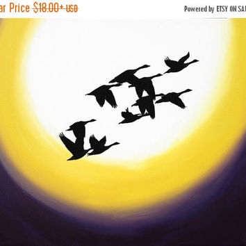 "canvas art Original Tree Landscape Giclee Art Print ""Geese over new moon"" silhouette art owl decor contemporary art starry night a3 a4 print"