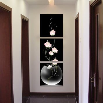 3PCS Unframed Vase with Flowers Canvas Material Porch Corridor Frameless Vertical Version Home Decor Wall Painting