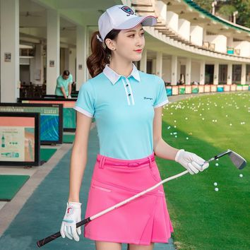 Golf apparel Summer T Shirt Loose Style Solid Female Short Sleeve Casual Top Tees team uniform table tennis sportswear short