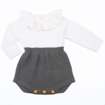 Fashion Baby Girls Rompers Knitted Ruffle Long Sleeve Jumpsuits Baby Kids Romper 2017 Spring Autumn Casual Clothing