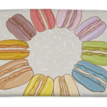 Bath Mat, Colorful French Cookie Macaroon Twisted Over Round Pattern