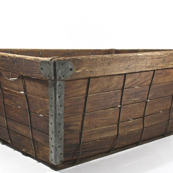 Vintage Industrial Basket / Vintage Wood Crate / Industrial Home Decor