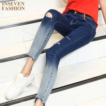 2016 New Arrival Gradient Color Pencil Jeans With Hole Women Fashion Knee Ripped Ankle-Length Skinny Denim Pants Capris D50