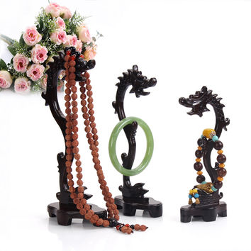 3pcs Shape Dragon Wood Necklace & Pendant & Bracelet Holder Stand Ring Organizer  Wood Jewellery Stand