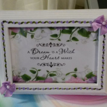 Up-Cycled Cottage Chic Hand Painted White DREAM is a WISH  Picture Frame With Hand Painted Purple Trim and Purple Silk Bows