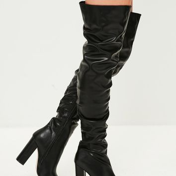 Missguided - Black Ruched Over The Knee Boots