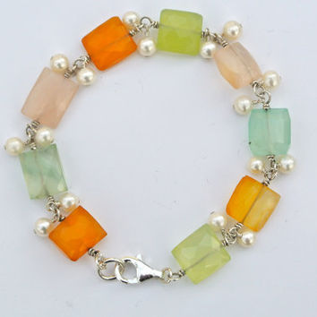 Wire Wrapped Faceted Chalcedony Beads With Freshwater Pearls/Silver Bracelet/Gemstone Bracelet/Spring Colors/