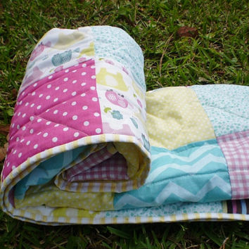 Modern Baby quilt,Elephant Baby Quilt,woodland,Baby girl or boy quilt-Baby patchwork crib bedding,turtle,Yellow,aqua,pink-Elephant Patch
