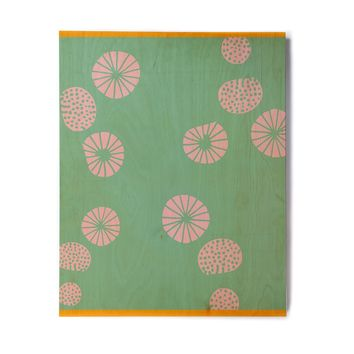 "bruxamagica ""Dandelion Aqua"" Green Pink Abstract Pattern Illustration Vector Birchwood Wall Art"