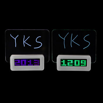 2016 Free Shipping Luminova LED Digital Clock led Luminous Message Board Alarm Clock With Calendar Desktop Clocks