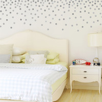 Metallic Dots Wall Decals 120 Silver or Gold Decals 2 inch Polka Dot Vinyl Wall Stickers