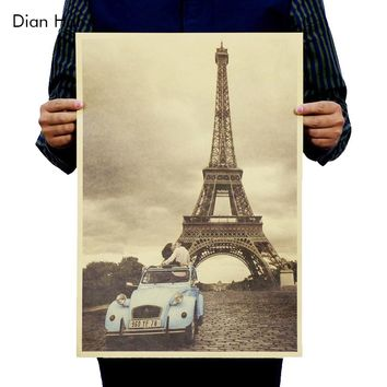 Free Shipping,paris Eiffel Tower/nostalgia Photo/kraft Paper/bar Poster/retro Poster/decorative Painting 51x35.5cm