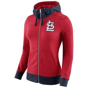 St. Louis Cardinals Nike Women's MLB Logo Blended 1.4 Full Zip Hoodie - Red