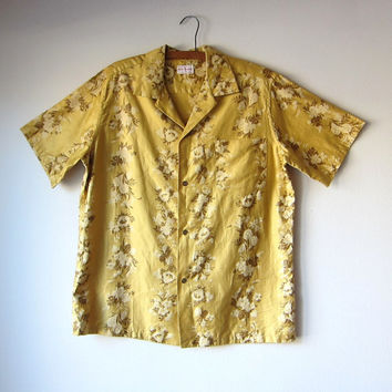 50s Mens Golden Tiki Hawaiian Shirt by Hale Aloha -- Floral Pineapple Motif -- Rockabilly Retro Style