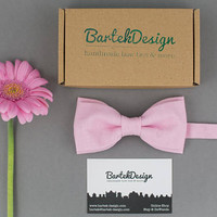 Soft Pink Bow Tie Pre Tied Bow Tie Linen Bow Tie Blush Bow Tie for Men Wedding Bow Tie Gift for Men Groomsmen Pink Bow Tie for Women