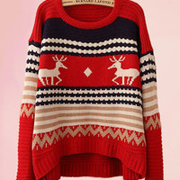 Deer Embroidered Long Sleeve Knitted Sweater