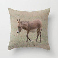 Miniature Donkey Foal Throw Pillow by Veronica Ventress