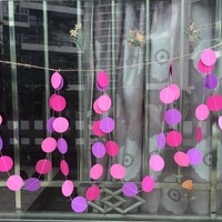 10 Feet Long Paper Circle Dots Hanging Decoration String Paper Garland Wedding Birthday Party Baby Shower Background Decorative - Cherry, Pink & Purple