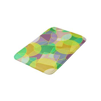 Stained glass geometric pattern bath mats