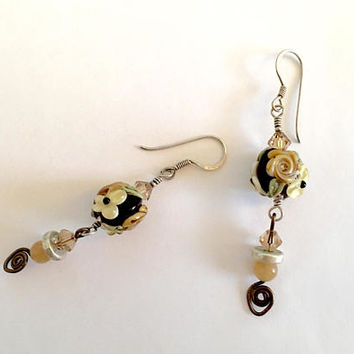 Gorgeous Vintage, Elegant, BoHo, Gypsy, Silver French Hook Earrings With Sparkle and Great Movement, Roses, Swarovski Crystals