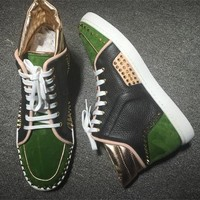 Cl Christian Louboutin Lou Spikes Style #2191 Sneakers Fashion Shoes - Best Deal Online