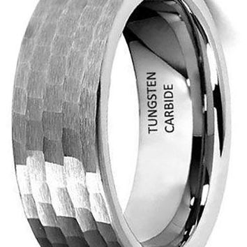 CERTIFIED 8mm Tungsten Carbide Comfort-Fit Hammered Wedding Band Ring
