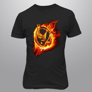 Hunger Games tee Catching Mens Black TShirt by lalajomens on Etsy