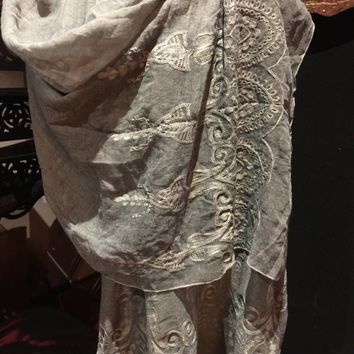 Vintage Styled Sheer grey flower embroidered wrap Shawl