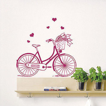 Wall Decals Retro Bicycle Bike Sport Decal Bedroom Home Vinyl Sticker Decor DA7