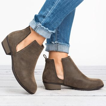 Slit Ankle Flat Booties - Distressed Brown