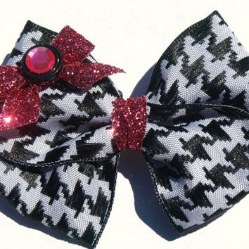 houndstooth hair bow- pink sparkly bow- back to school