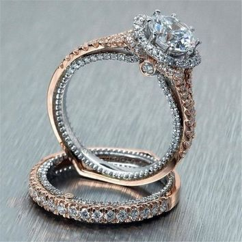 Modyle 2pcs lot Rose Gold and Silver Double Rings Set Engagement Cubic  Zirconia Ring For 6714b1054