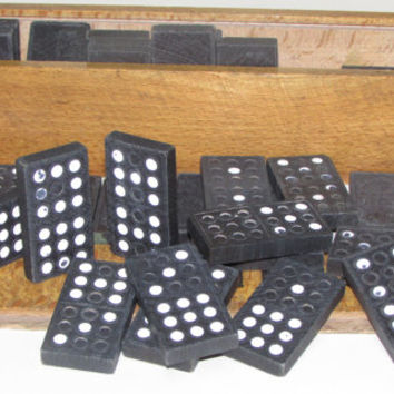Vintage Wooden Set Domino,  Full Black Domino Board Game 70s ', Gift for Kids, Wooden Kids Game,  Box Game Domino, Femaly Game