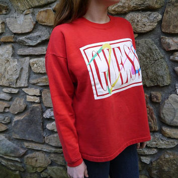 Vintage Guess Jeans Red Sweatshirt 1990