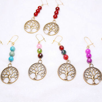 Boho earrings, Tree of life earrings, Tree agate earrings, jade tree earrings, amazonite tree of life, bronze tree life, gemstone earrings