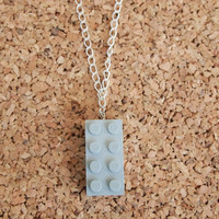Grey LEGO Necklace - geekery charm recycled kids toy jewelry silver chain gray brick unique hipster jewelry FREE shipping to USA