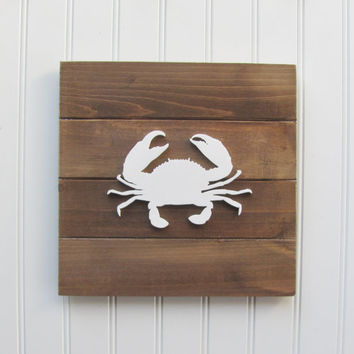 Crab, Nautical, Nursery Wall Decor, Nautical Nursery, Nursery Decor, Nautical Decor, Nautical Wall Art, Boys Room, Pallet Board, Crab Sign