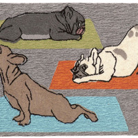 "Yoga Dogs Heather 20"" x 30"" Indoor/Outdoor Rug"