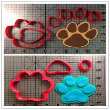 Custom Made 3D Printed Cartoon Panther Paw Clues Paw Baby Feet Biscuit Tools Cookie Cutters Set For Cake Decorating Mold Tools