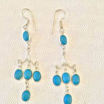 Turquoise chandelier sterling silver earrings
