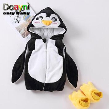 Doayni Baby Winter Jackets For Baby Girl Novelty Penguin Hooded Vest Thick Warm Baby Girl Cotton Clothes with Shoes Unisex