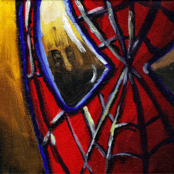 Spider Man Marvel Acrylic Painting 8x10 Matted Art Print 5x7 Wall Art Superhero Art