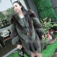 2017 Autumn Winter   Fashion new women faux  fur coat silver fox imitation fur vest plus size ladies fox fur coat free shipping