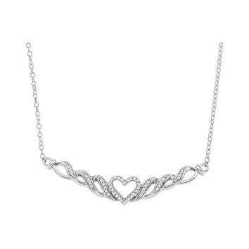 10kt White Gold Womens Round Diamond Heart Pendant Necklace 1/6 Cttw